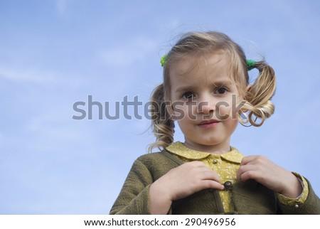Girl smiling, close up - stock photo