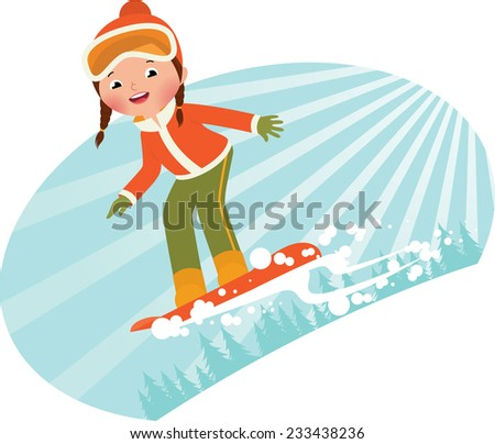 Girl snowboarder sliding down the mountain on a snowboard/Girl on snowboard/Cartoon illustration of a girl snowboarder