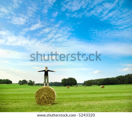 girl standing on hay bale spreading her arms in front of a beautiful landscape with bright blue sky
