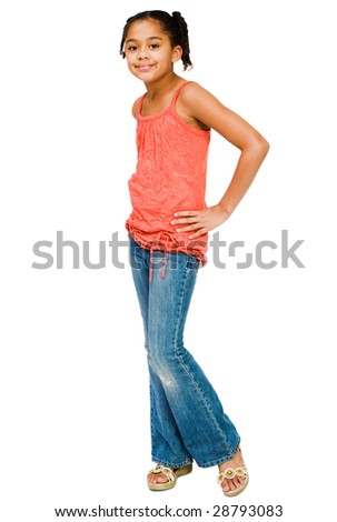 Girl standing with and posing isolated over white