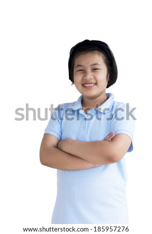 girl standing with folded hands over white background - stock photo