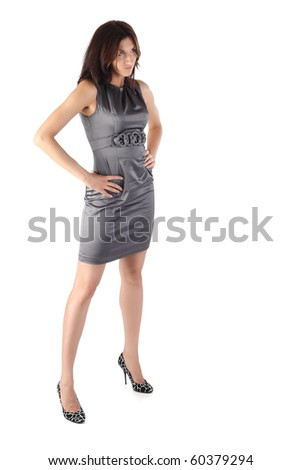 Girl stands isolated on the white background