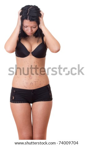 Girl stressed before plastic surgery - stock photo