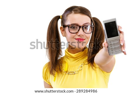 Girl stretches phone with black display, isolated on white background. - stock photo