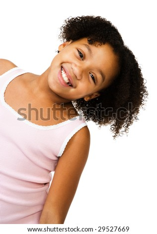 Girl stretching her neck and smiling isolated over white - stock photo