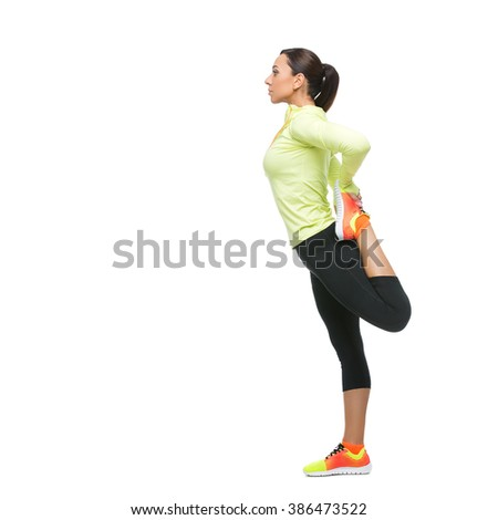Girl stretching legs - stock photo