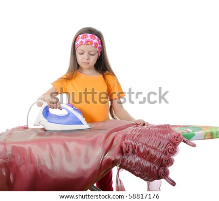 Girl stroking a evening dress iron. Isolated on white background - stock photo