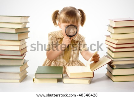 Girl surrounded by books looking at nails using magnifier, isolated over white - stock photo