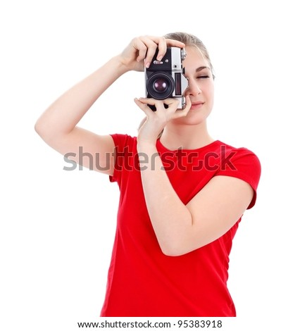 Girl taking photo of us with an old styled camera - stock photo
