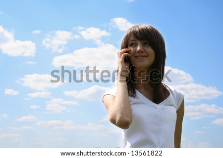 girl talking on telephone