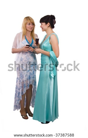 Girl telling a secret to another - gossip isolated over a white background. Two happy women sharing funny gossip. - stock photo