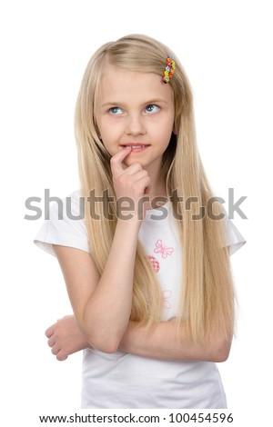 girl thinking. isolated on white background - stock photo