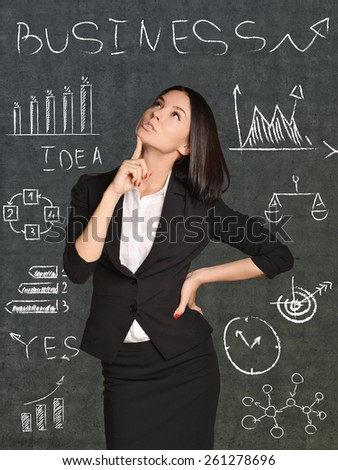 Girl thinks about painted on the wall charts and calculations. - stock photo