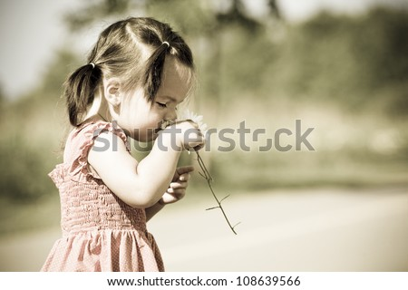 girl toddler is having fun smelling flower in the summer - stock photo