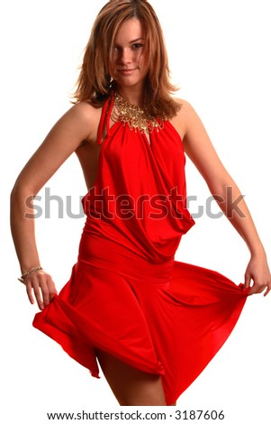girl touch her red dress