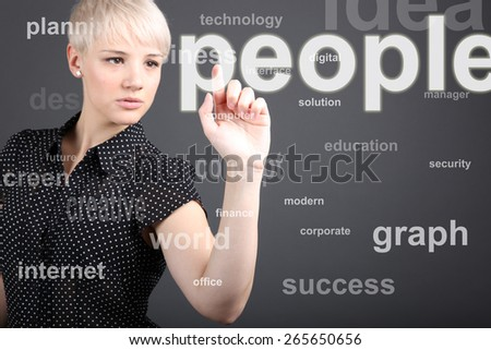Girl touching human people button - stock photo