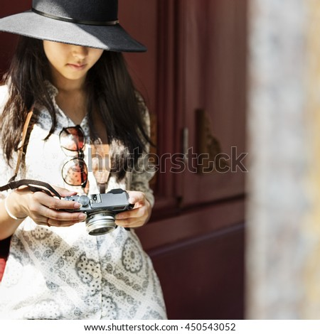 Girl Traveling Leisure Lifestyles Holiday Concept - stock photo