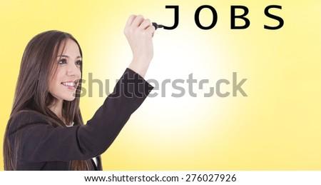 girl typing jobs - stock photo