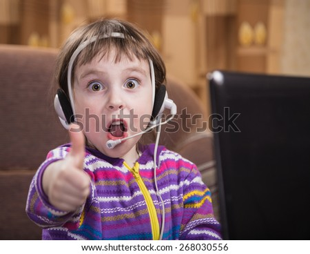 Girl Using Laptop in the room. - stock photo