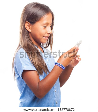 girl using mobile on a white background
