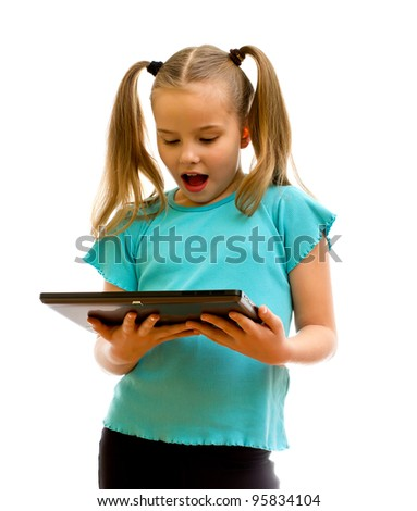 Girl using tablet PC  isolated on the white background.