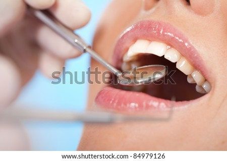 girl visit to the dentist - stock photo
