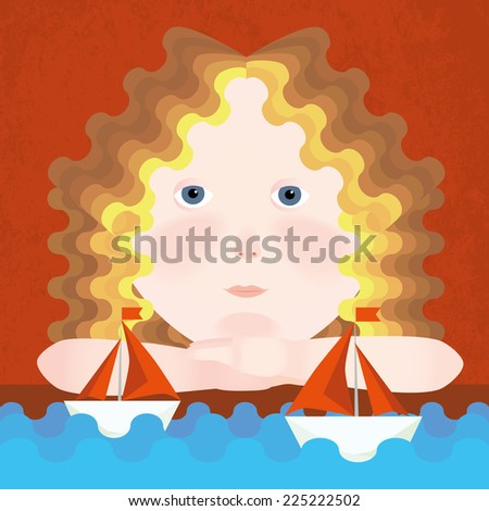 Girl waiting boat with scarlet sails - stock photo