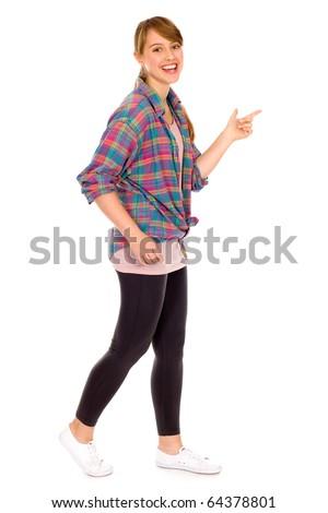 Girl walking - stock photo