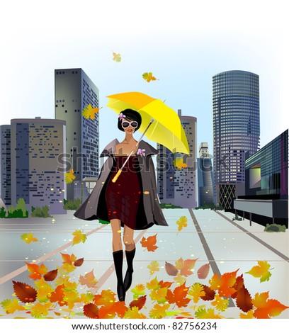 girl walking in Autumn - stock photo