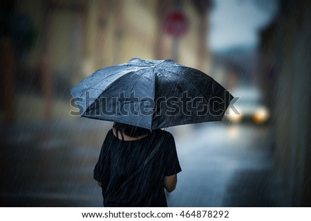Girl walking with umbrella on rainy day