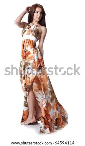 girl wearing a summer dress - stock photo