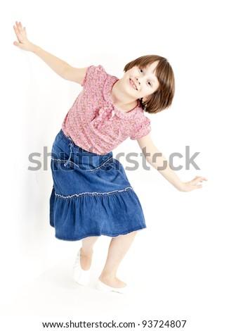 girl wearing blue skirt - stock photo