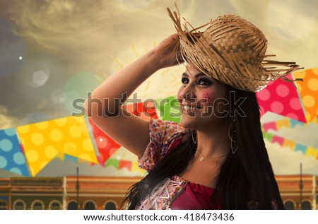 "Girl wearing ""Caipira"" clothes for the Junina Brazilian Party"