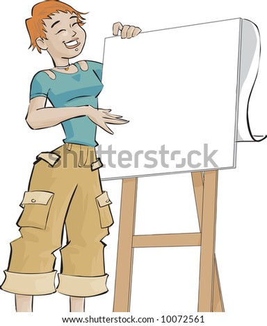 girl wearing casual clothes in front a flip chart - stock photo
