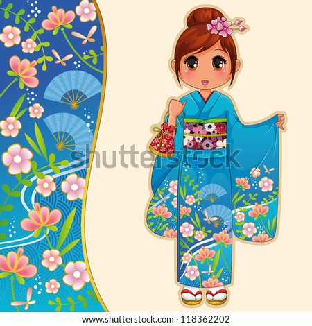 girl wearing kimono next to a matching banner (vector available in my gallery) - stock photo