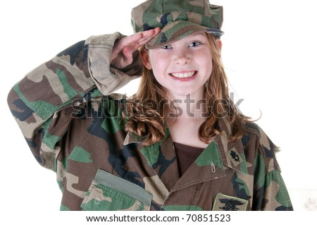 girl who wants to be in the military - stock photo