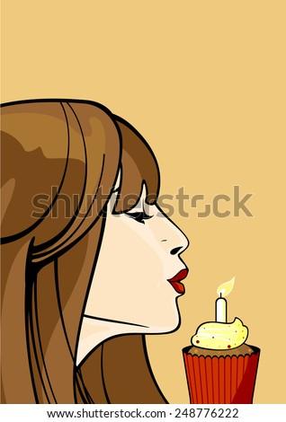 Girl with a birthday cupcake (raster version) - stock photo