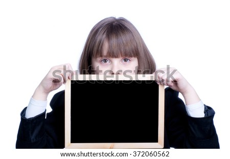 Girl with a black board