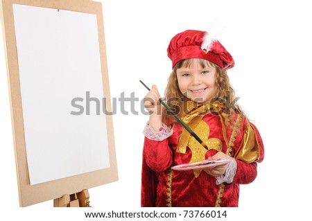 Girl with a brush and paints near an easel. Isolated on white - stock photo