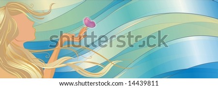 Girl with a butterfly in her hand, in the wind - stock photo