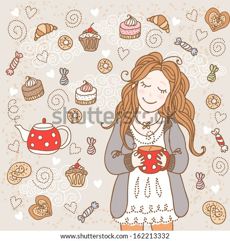 Girl with a cup of tea and many delicious sweets. Raster version - stock photo