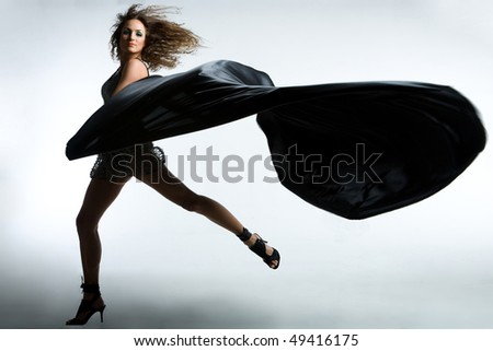 Girl with a fabric - stock photo