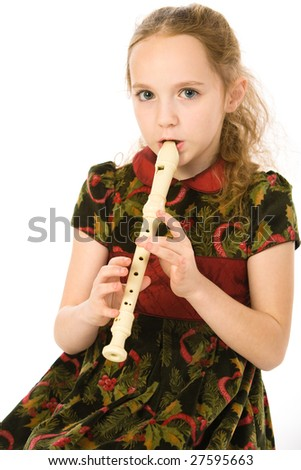 Girl with a flute on white - stock photo