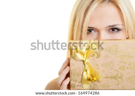 girl with a gift box  - stock photo