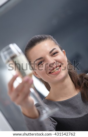 girl with a glass of champagne