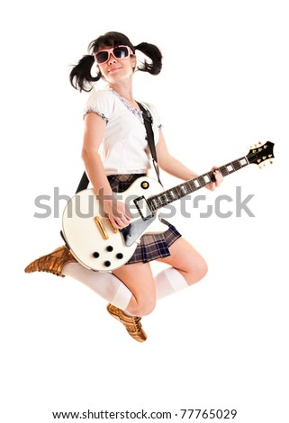 girl with a guitar on a white background
