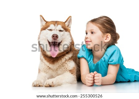 Girl with a husky, isolated on white - stock photo