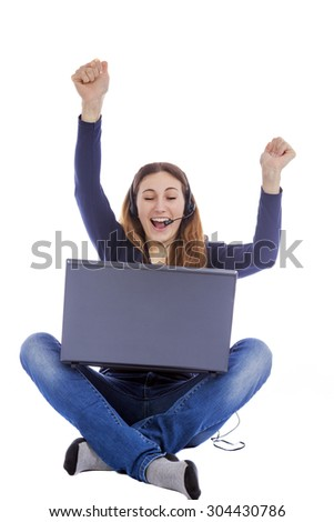 girl with a laptop on a white background