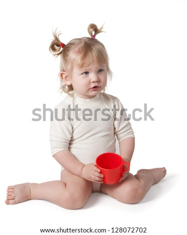 Girl with a pot on a white background. Clipping path. - stock photo