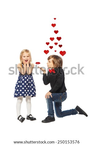 Little boy propose love stock photos images pictures - Boy propose girl with rose image ...